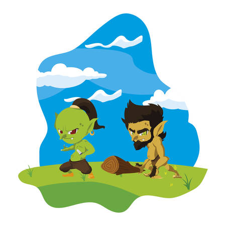 ugly troll with caveman gnome in the camp magic characters vector illustration Çizim