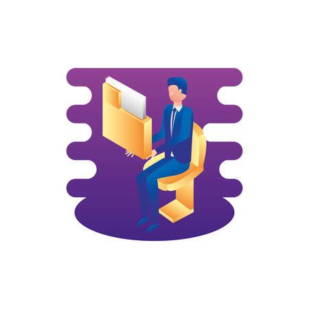 businessman worker with folder documents vector illustration design Stock Illustratie