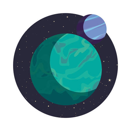 system solar planets galaxy icon vector illustration