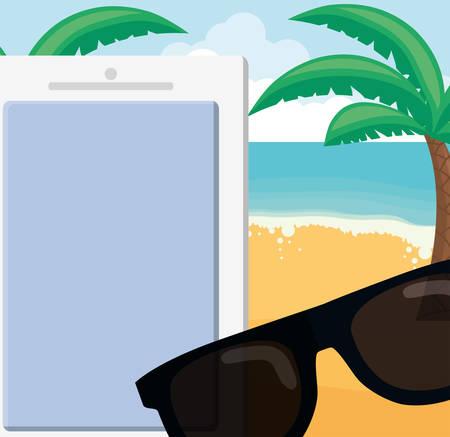 trees palms beach scene with sunglasses vector illustration design