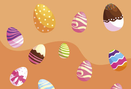 happy easter eggs painted pattern vector illustration design 일러스트