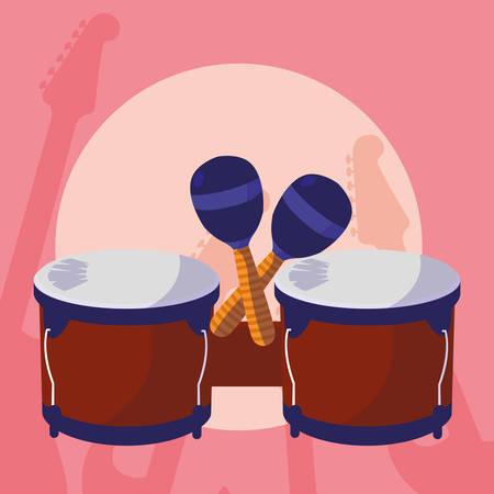 timbal and maracas instruments musical vector illustration design Иллюстрация