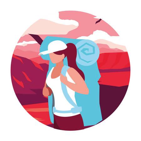 young woman in desert landscape dry scene vector illustration design Ilustração