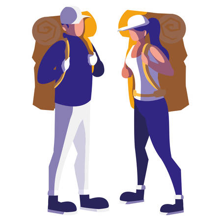 adventurous couple with travelbag vector illustration design