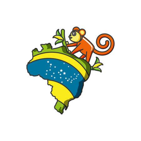 map of brazil with monkey animal vector illustration design Иллюстрация