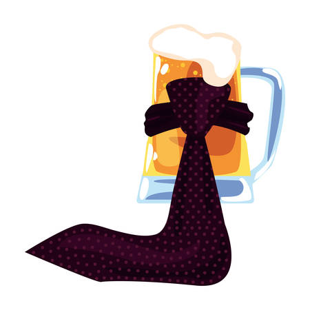 beer and necktie happy fathers day vector illustration