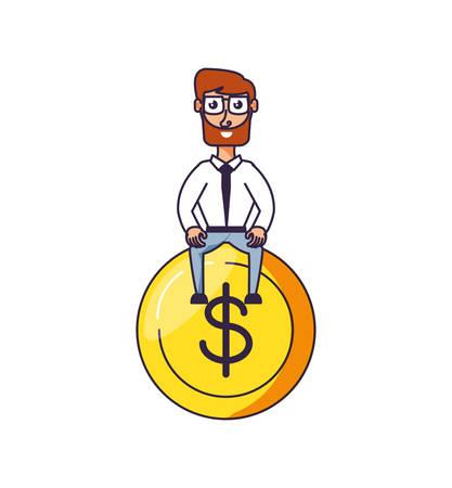 businessman elegant with coin dollar vector illustration design Stock Illustratie