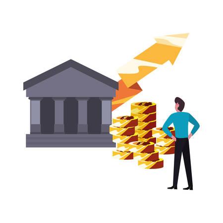 businessman money bank arrow financial vector illustration
