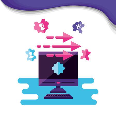 computer desktop with social media icons vector illustration design