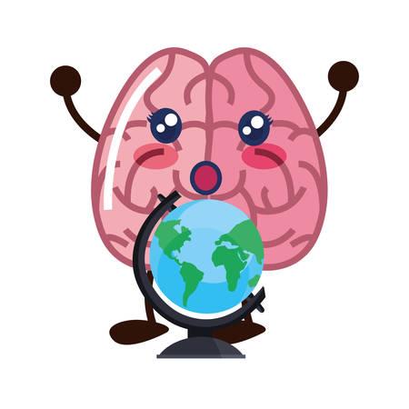 brain cartoon school globe creativity vector illustration