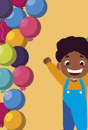 cute happy black boy with birthday balloons helium vector illustration design Archivio Fotografico - 131360771