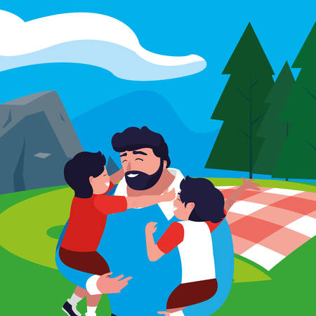 father with sons characters in the field picnic day vector illustration design Çizim