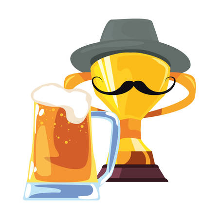 beer trophy mustache happy fathers day vector illustration