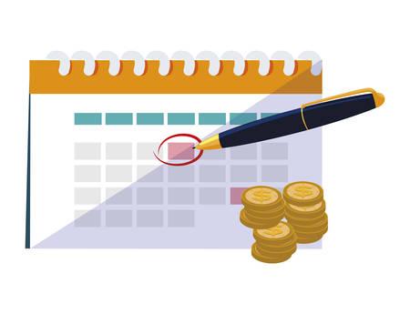 coins money with calendar and pen vector illustration design Çizim
