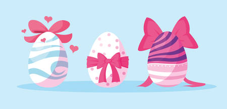 set of decorated easter eggs vector illustration design