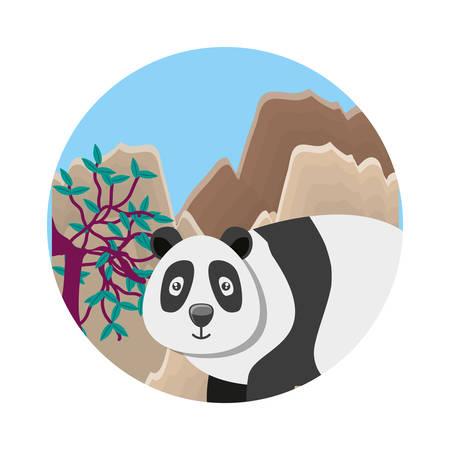 bear panda animal with lanscape vector illustration design