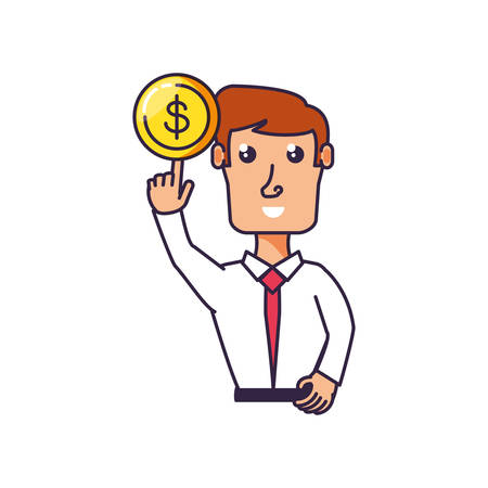 businessman with hand up and coin vector illustration design
