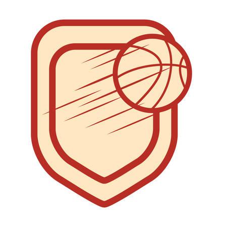 flying basketball ball sport stamp vector illustration