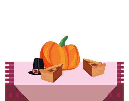 dinner room pumpkin pies thanksgiving celebrate vector illustration