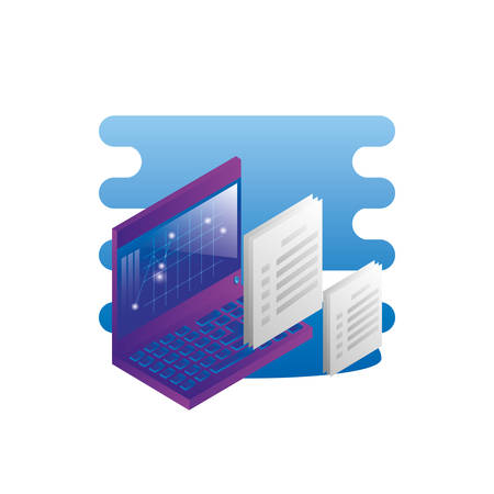 laptop computer with documents files vector illustration design