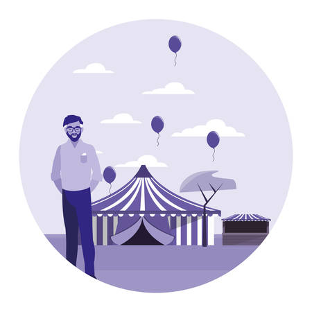 man standing in the carnival fair vector illustration 向量圖像