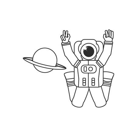 astronaut suit with planet saturn vector illustration design Ilustrace