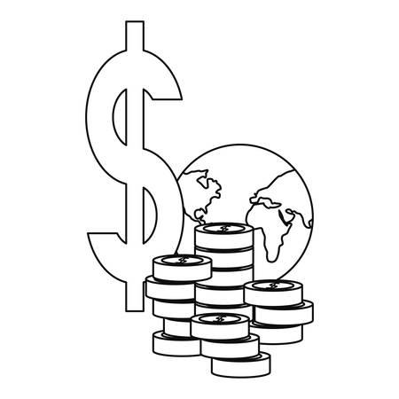 world coins money business vector illustration design vector illustration