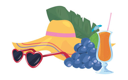 summer time holiday cocktail hat sunglasses grapes   vector illustration
