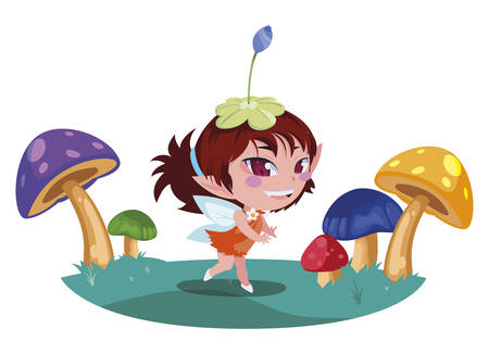 beautiful magic fairy in the fungus camp vector illustration design Ilustrace