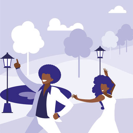 young black couple dancing in the park vector illustration design