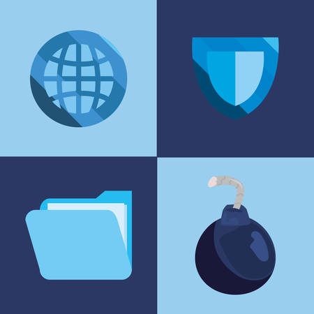 shield protection world boom file cyber security vector illustration