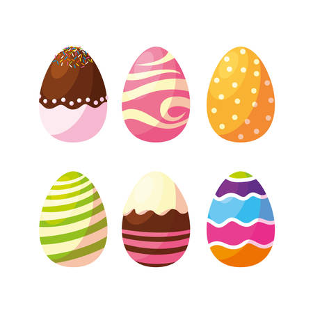 set of decorated easter eggs with candies vector illustration design