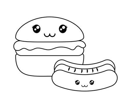 delicious hamburger with hot dog kawaii character vector illustration design Ilustrace