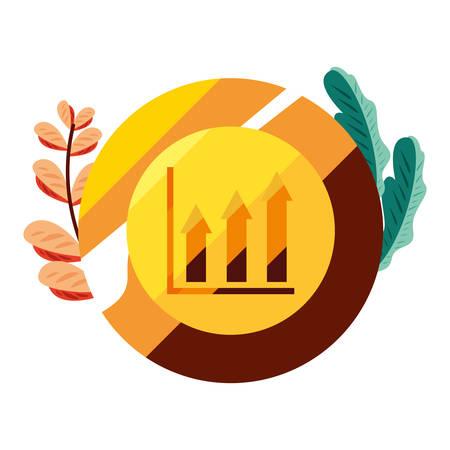 gold coin chart financial success vector illustration