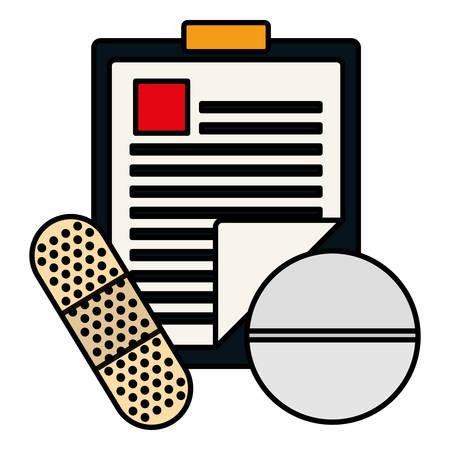 medical order checklist with pill and cureband vector illustration design Illustration