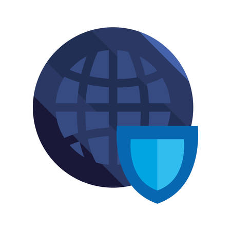 world shield cybersecurity data protection vector illustration