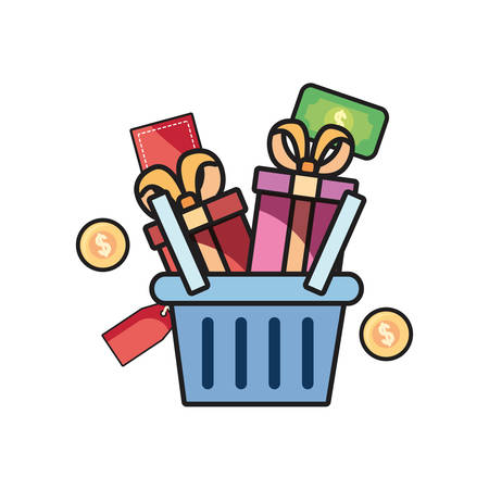 online shopping basket gifts on white background vector illustration