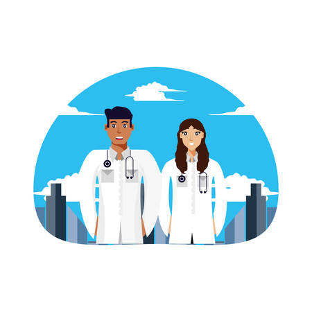 doctors professionals couple with cityscape vector illustration design