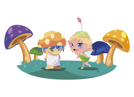 beautiful magic fairy and fungu elf in the garden vector illustration design