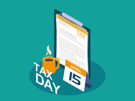 tax day with clipboard and calendar reminder vector illustration design