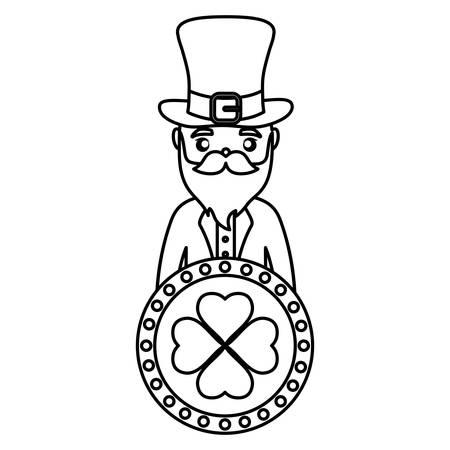 coin with clover and irish leprechaun vector illustration design