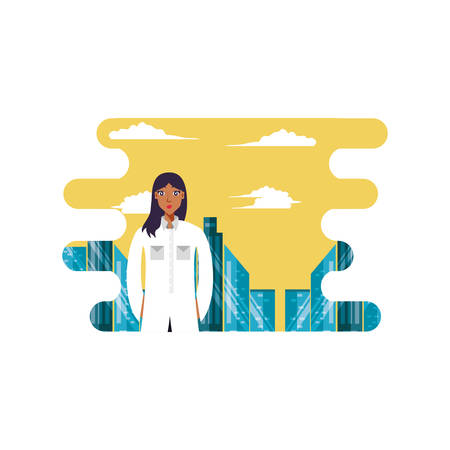 doctor female professional with cityscape vector illustration design Çizim