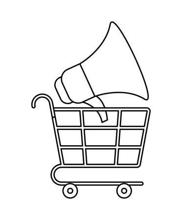 shopping cart with megaphone isolated icon vector illustration design