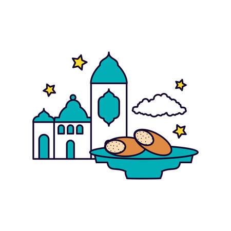 mosque castle with bread food ramadan kareem vector illustration design 向量圖像