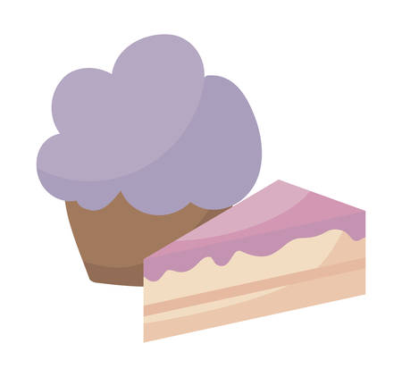 delicious sweet cupcake and cake vector illustration design Ilustração