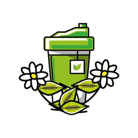container plastic of tea herb with flowers chamomile vector illustration design