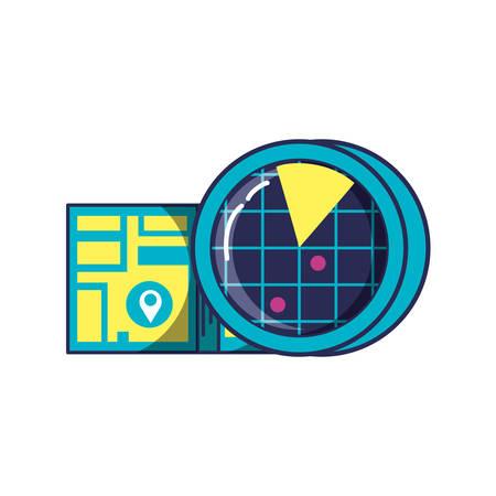 radar location with map guide location vector illustration design