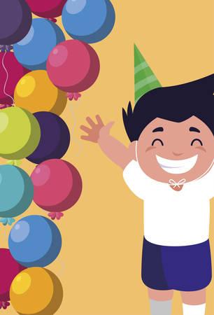 cute happy boy with birthday balloons helium vector illustration design Çizim