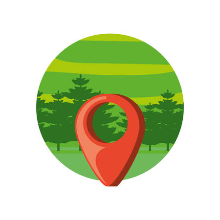 pin location with landscape in frame circular vector illustration design