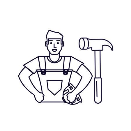 worker construction man with hammer tool vector illustration design